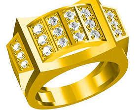 Men gold round cut engagement rings cad 3D print model 1