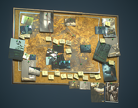Pinboard Archaeological Police Detective 3D asset 1