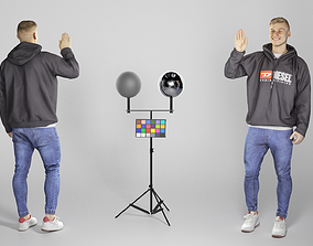 3D asset Cheerful young man in hoodie waving 265