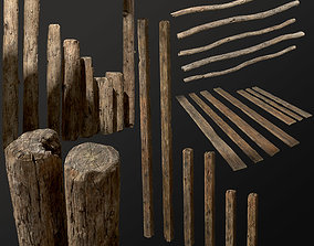 Old Wooden planks poles and beams 26 pieces 3D PBR