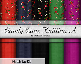 Candy Cane Knitting Fabrics Seamless Textures Set 3D model