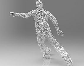 Wire football shooting sculpture 3D