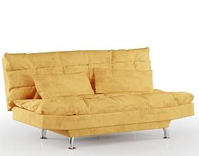 Suede Brown Sofa Bed Premium 3D model