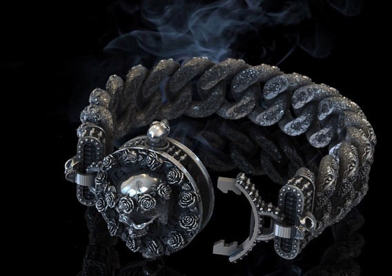 bracelet with a skull and roses
