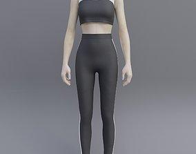 Gym wear- female sport wear trackset 3D