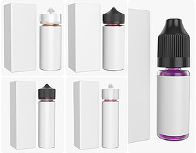 3D model Vape bottles with white paper box