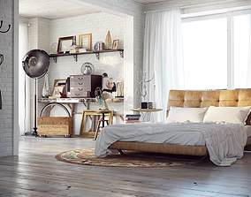 Industrial style bedroom design 3D