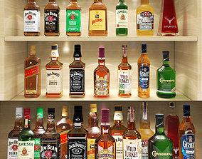 interior 3D model Bar set whiskey