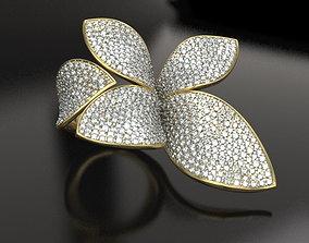 Flower pave ring feminine 3D print model