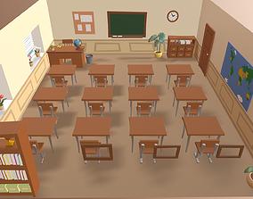 3D asset Cartoon classroom