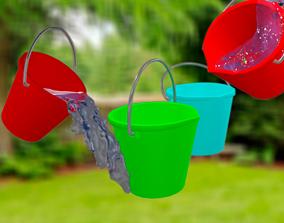 Plastic Bucket 3D model rigged