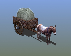 3D asset animated Mule Cart Rigged