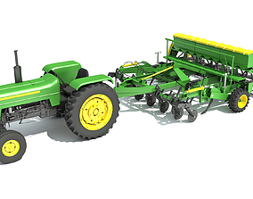 Disc Harrow with Tractor 3D model