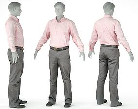 Male Casual Outfit 36 Shirt Pants Footwear 3D asset