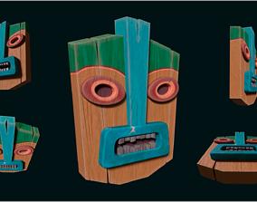 Stylized Hand-Painted Tiki Mask 3D model