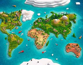 3D asset Cartoon Low Poly Earth World Map 2