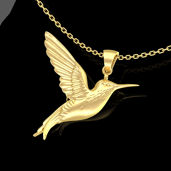 Hummingbird Single Pendant Jewelry Gold 3D print model