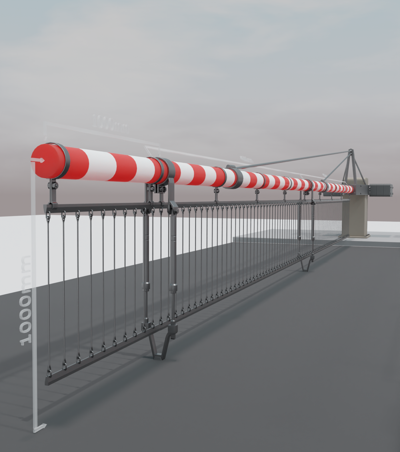 Railway Barrier Construction Set (High-Poly) Overview (Blender-2.91-Cycles-Render-Engine)