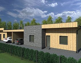 3D model One floor house for two families
