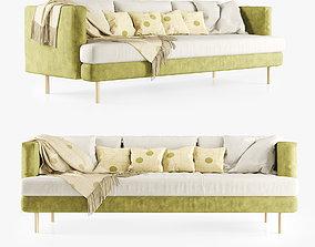 3D Velour triple sofa with plaid