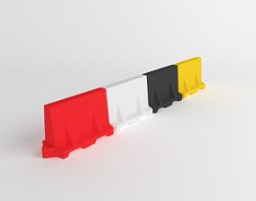 3D asset Water Filled Plastic Traffic Barrier
