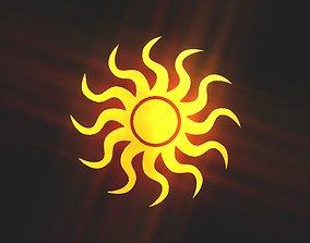 Wavy sun 3d game-ready
