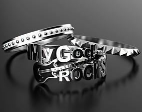 3D print model My God Rocks rings