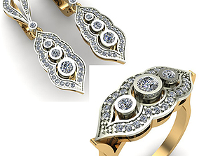 WOMAN SET RING AND EARRINGS 3D
