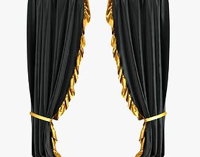 3D Black Velvet Curtains