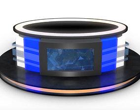 3D model Virtual TV Studio News Desk 12