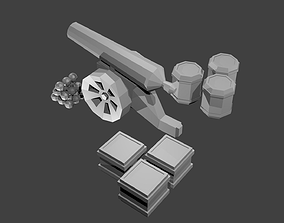 3D model Low polygonal cannon