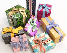 Gift boxes with bows part 1 3D model