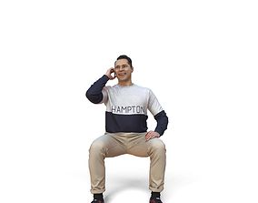 3D model Man Sitting Talking with Phone