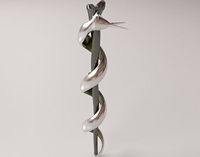 Rod of Asclepius 3D