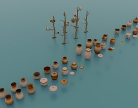 Low poly earthenware 3D asset