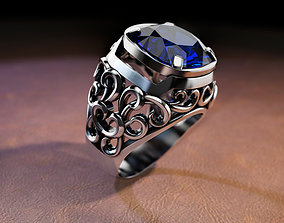 ring with large stone and patterns 3D print model