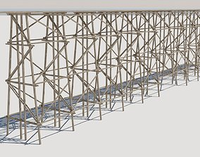 Wood trestle bridge adapted for your games PBR 3D asset