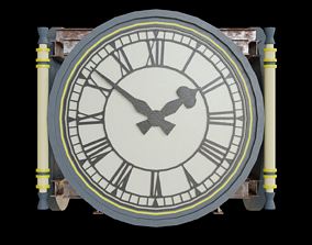Train Station Clock - Low poly PBR 3D model