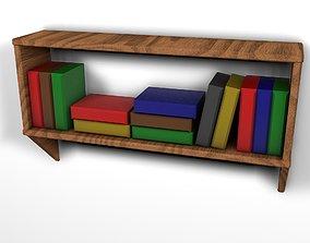 3D asset Bookshelf low poly