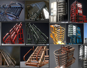 Futuristic Ladders and Stairs Set - All 3D model 2