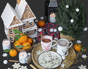 3D model Decorative set with gingerbread house