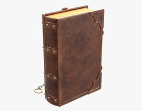 Old book in leather decorated 04 3D