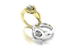 platinum 3D printable model Gold Ring With Diamond