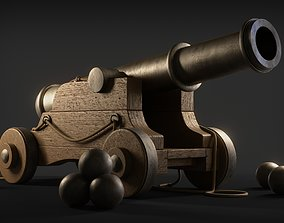 rigged War Cannon 3d Model