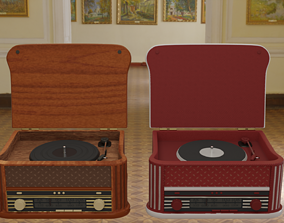 Vintage Record Player Radio 3D model