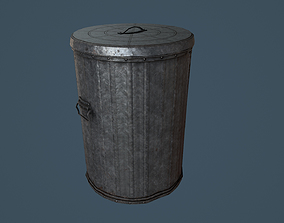 Trash Can PBR Game Ready 3D model
