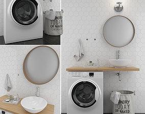 Bathroom set 1 3D model basket
