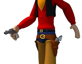 3D Colorful Rigged Cartoon Cowboy Character