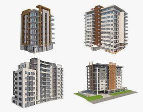 4 Apartment Buildings Set 2 3D model
