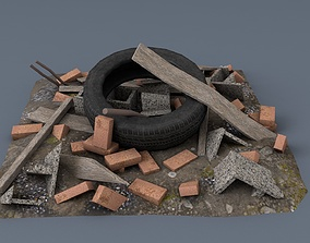 low-poly small scrap heap asset